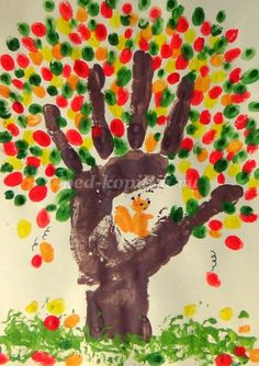 Hand print fall tree- could do all the seasons