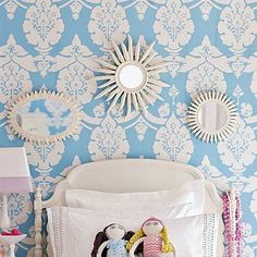 Wallpaper! Can you mix with painted wood walls? Back wall in Lilli's room