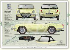Triumph Spitfire Mk3 1967-70 wire wheels, classic sports car portrait print