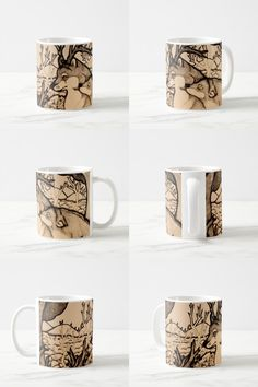 """Numb the Pain"" Black And White Illustrated Coffee Mug #wolf_products #wolf_art #wolf_illustration #wolf_couple #fantasy #sepia #cute #gifts"