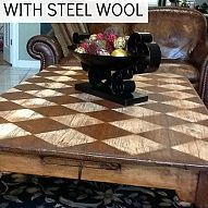 My mom made over her plain ol' pine coffee table with steel wool. It's… :: Hometalk