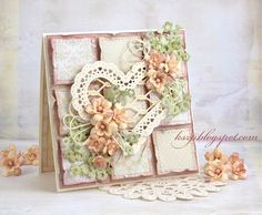 Heart with lattice backdrop on a patchwork squares background by Klaudia Shabby Chic Karten, Shabby Chic Cards, Pretty Cards, Love Cards, Wedding Anniversary Cards, Wedding Cards, Patchwork Cards, Mixed Media Cards, Hand Made Greeting Cards