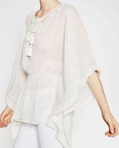 Image 1 of CONTRAST CROCHET TUNIC from Zara