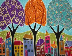Houses and Trees Folk Art Abstract by Karla Gerard