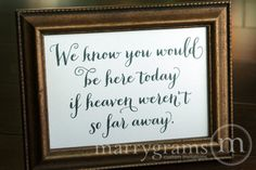 In Loving Memory Sign If Heaven Weren't So Far Away Table Card - Wedding Signage - Family Photo Table Sign