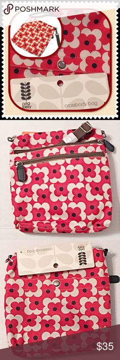 "NWT Orla Kiely Crossbody Bag Target purse NWT. Firm price. Red shadow flower print. Orla Kiely crossbody, shoulder, or messenger style bag by Target. I ❤️ Orla Kiely, & liked these so much, I bought all 3 styles but accidentally ordered 2 of this one! Great bag to add a pop of color to an outfit. Adjustable, detachable shoulder strap: 28"" drop. Lined with navy blue small cars pattern. 9.25"" H x 2.75"" W x 9"" D. Polyester. Front snap pocket. Back zip pocket & interior main zip compartment…"
