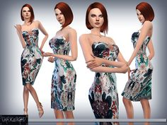 The Sims Resource: Floral Printed Silk Dress by DarkNighTt • Sims 4 Downloads