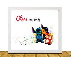 Lilo and Stitch Inspired Wall Art, Watercolor Disney Inspired Art, Kids Room Decor, Kids Wall Art, Baby Girl Nursery Art, Kids Art Prints, Unframed, Printed on Archival Matte Premium Photo Paper. This Lilo and Stitch inspired print is the perfect whimsical addition to any child's bedroom. What you are purchasing is a Digital Print on Archival Matte Photo Paper, available in two sizes 8 X 10 and 11 X 14.