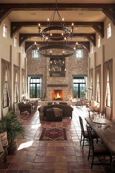 Living Room - Dark Brown Furniture and Large Chandelier