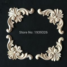 2017 Cabinet Bed Door Wood Carving 8 Pieces, Wood Crafts Applique Unpainted Furniture Frame Accessories Flower Alphabet Carved
