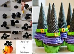 Halloween crow cake topper tutorial by the Cake Dutchess and witch's hat cupcakes via Pretty Foods.