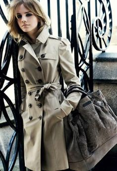 Trench coats are cool. :-) {I saw this Emma Watson Burberry ad campaign when I was in London back in '09.}