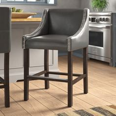 Counter Stools With Backs, Grey Bar Stools, Counter Height Bar Stools, Wood Counter, Counter Bar Stools, How To Distress Wood, Dining Furniture, Foot Rest, Family Room