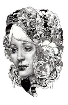 Iain Macarthur does these amazing portraits drawings, but they have a twist. His drawings are a combination of portrait and illustrations. Mehndi, Henna, Illustration Arte, Illustrations, Animal Drawings, Art Drawings, Awesome Drawings, Awesome Art, Adult Coloring Pages