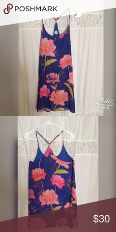 My favorite dress!!! Everly floral spring dress Such a great dress for spring. Royal blue back ground with pink flowers on front and back. Tried to get he colors just right in this pic. Adjustable straps Everly Dresses