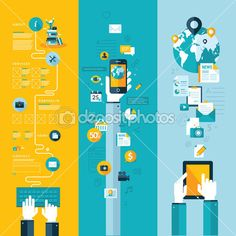 Плоский дизайн векторные иллюстрации понятий для макета сайта, Услуги мобильной…