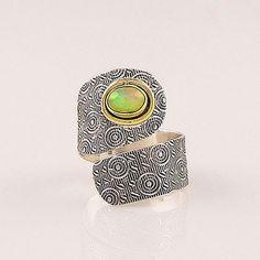 Ethiopian Opal Sterling Silver Two Tone Adjustable Wrap Ring – Keja Designs Jewelry