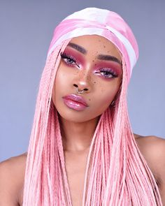 Nyané Lebajoa wearing Temper hair wig bubblegum pink hair in braids braided no roots pink makeup limecrimemakeup Pastel Pink Hair, Pink Wig, Black Girl Pink Hair, Lace Front Wigs, Lace Wigs, Couleur Rose Pastel, Braided Hairstyles, Cool Hairstyles, Makeup Tutorials