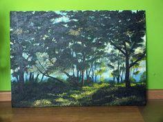 Światło w ciemnym lesie Akryl na płycie, ręcznie malowany