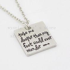 "new Hand Stamped""Take me deeper than my feet could ever wander ""necklace Christian jewelry baptism gift Hillsong united"