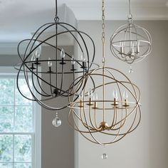 Extra large orb for the living room in brush nickel. Orb Chandelier - new entry way light.  Love it