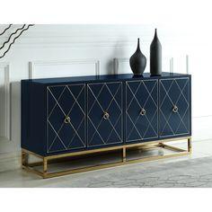 Everly Quinn Schaible 64'' Wide Sideboard & Reviews   Wayfair Bar Furniture, Furniture Deals, Selena, Dining Room Bar, Best Dining, Adjustable Shelving, Online Shopping, Home Decor, Navy Blue