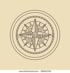 Round linear vintage compass logo.  Outline monochrome stamp navigation brand design.