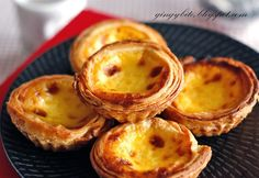 Portugese egg tart - the filling so soft it oozes out when you bite into it, and the skin remain crunchy till the next day!