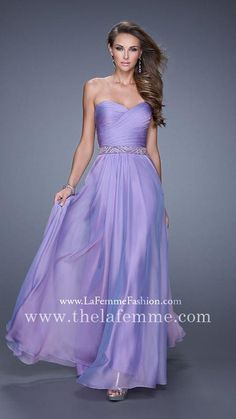 Cheap La Femme 20527 A Line Full Length Wisteria Strapless Prom Dresses