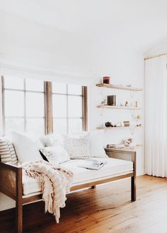 Beautiful | Living Room, Family Room, Open Shelving, Pillows, Throws, Home