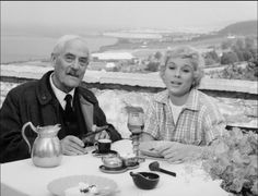 Victor Sjostrom as Isak Bork and Bibi Anderson as Sara in Wild Strawberries 1957