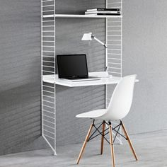 String Shelf desk - white `One size Artist : Nils Strinning * Adaptable desk top and shelves * Details : Varnished Steel, 3 Shelves, 1 work desk, 2 totals, construction necessary, Hangs on the wall * Fabrics : Powder coated steel, Varni http://www.MightGet.com/january-2017-13/string-shelf-desk--white-one-size.asp