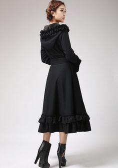 Black & Red Cashmere Coat Long Maxi Warm Winter Coat by xiaolizi ...