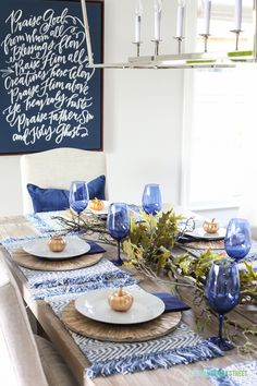 A unique blue Thanksgiving tablescape, and also share where I'm willing to splurge versus save when it comes to creating tablescapes. Get the full look! #Pier1love #Sponsored #homedecorideas #falldecor