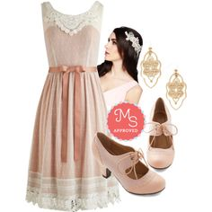 In this outfit: Radiate Romance Dress, Adorned in Dreams Headband, Filigree of Flair Earrings, The Best of Times Heel in Petal #lace #petal #pink #classic #ornate