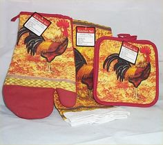 Rooster Kitchen Decor | Rooster Kitchen Towel Hot Pads Oven Mitt Country Farm Decor 4 PC Set ...