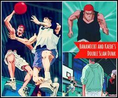 Hanamichi Sakuragi and kaede rukawa do a double slamdunk at the same time via watchslamdunkanime.blogspot.com episode 61 Slam Dunk, Inoue Takehiko, Anime Rules, Basketball Players, Slammed, Soundtrack, Family Guy, English, Watch