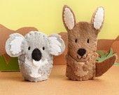 adorable items from this etsy seller--Little Koala and Kangaroo - Wool Felt Finger Puppets--She inspires me.