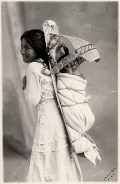 Paiute girl and baby