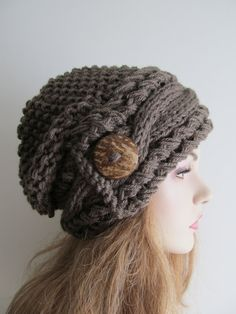 Slouchy Beanie Cable Slouch Hats Wood Button Braided sideways Cable Hat womens fall winter accessory Taupe Super Chunky Hand Made Knit by Lacywork on Etsy Slouchy Beanie, Slouch Hats, Knitted Hats, Loom Knitting, Knitting Patterns, Knit Wrap Pattern, Hats For Cancer Patients, Knit Crochet, Crochet Hats