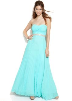 Betsy & Adam  Strapless Jeweltrim Pleated Gown