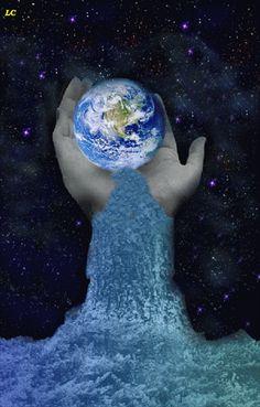mundo agua mano gif