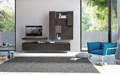 Multiple shaped units can be grouped together to provide many different storage options on one wall of a room.