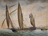 Xebec Andrew Conte, Captain Francesco Chiozza, June 27, 1816, watercolor by Andrea Moretti known as Rebout, Italy