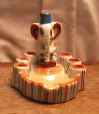 Vintage Deco Elephant in Fez Ashtray w Cigarette Snuffer Mae in Japan