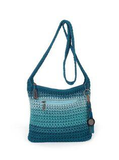 Bolsa azul de crochê