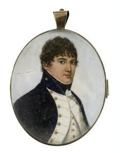 Frederick Buck (Irish, A Naval Officer, wearing dark blue coat with standing collar and white facings, white waistcoat, frilled chemise and black stock Miniature Paintings, Miniature Portraits, Royal Navy Officer, Napoleonic Wars, Modern Artists, Georgian, Men's Clothing, No Frills, 19th Century