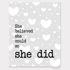 Girl Nursery She Believed She Could So She Did Quote by ofCarola, $15.00