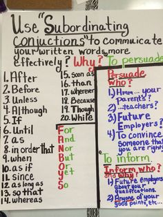 OF SUBORDINATING LIST CONJUNCTIONS