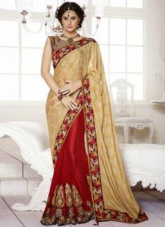Dark Red With Cream Half N Half Designer Wedding Saree  http://www.angelnx.com/Sarees/Wedding-Sarees#/sort=p.date_added/order=DESC/limit=32/page=12